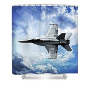 F18 Fighter Jet Shower Curtain by Aaron Berg