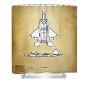 F22 Raptor Blueprint Shower Curtain
