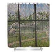 Prison Yard With Razor Wire, Guard House And Satellite Dish Shower Curtain