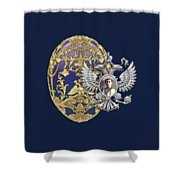 Faberge Tsarevich Egg With Surprise On Blue Velvet Shower Curtain