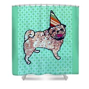 Fabric Pug Shower Curtain