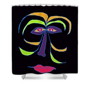 Face 2 On Black Shower Curtain