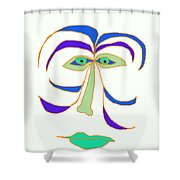 Face 2 On White Shower Curtain