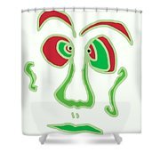 Face 3 On White Shower Curtain