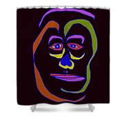 Face 5 On Black Shower Curtain