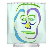 Face 5 On Light Blue Shower Curtain