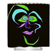 Face 6 On Black Shower Curtain