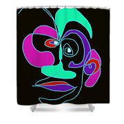 Face 7 On Black Shower Curtain