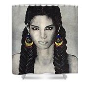 Face. Black White  Shower Curtain