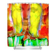 Face In The Flames Shower Curtain