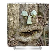 Face In The Woods Shower Curtain