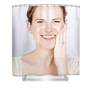 Face Of A Smiling Bride With Perfect Makeup Shower Curtain
