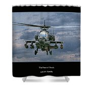 Face Of Death Ah-64 Apache Helicopter Shower Curtain by Randy Steele