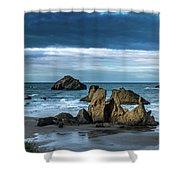 Face Rock Beach  Shower Curtain