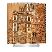 Faced Of Florence Cathedral  Shower Curtain