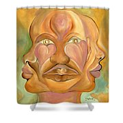 Faces Of Copulation Shower Curtain by Ikahl Beckford