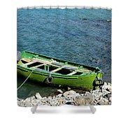 Faded Green Yellow Motor Power Boat Parked At Satpara Lake Pakistan Shower Curtain