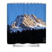 Fading Afternoon Sun Illuminates Mountain Peak  Shower Curtain