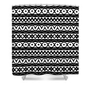 Fair Isle Black And White Shower Curtain by Rachel Follett
