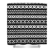 Fair Isle Black And White Shower Curtain by Rachel Follett