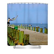Fairhope Fisherman With Cast Net Shower Curtain