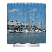 Fairhope Yacht Club Impression Shower Curtain
