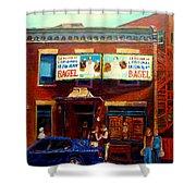Fairmount Bagel By Montreal Streetscene Painter Carole  Spandau Shower Curtain