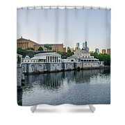 Fairmount Waterworks And Philadelphia Art Museum In The Morning Shower Curtain