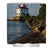 Fairport Harbor Lighthouse Panoramic Shower Curtain