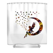 Fairy And Stars Shower Curtain by Michael Colgate