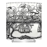 Fairy Hacienda With Floral Roof Shower Curtain