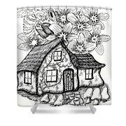 Fairy House, Bee, And Dogwood Shower Curtain