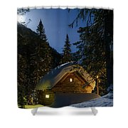Fairy House In The Forest Moonlit Winter Night Shower Curtain