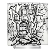 Fairy House Stump And Hibiscus Shower Curtain