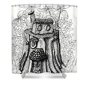 Fairy House Stump With Penthouse Shower Curtain