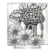 Fairy House With Pine Cone Roof And Daisies Shower Curtain