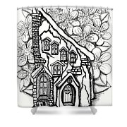 Fairy Stucco House With Flowers Shower Curtain