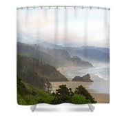 Falcon And Silver Point At Oregon Coast Shower Curtain