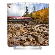 Fall At Albany Covered Bridge Shower Curtain