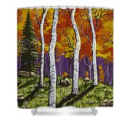Fall Birch Trees Painting Shower Curtain