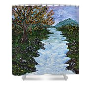 Fall By The River Shower Curtain