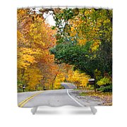 Fall Color Along Road  5643 Shower Curtain
