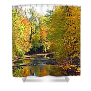 Fall Color On Creek  5597 Shower Curtain