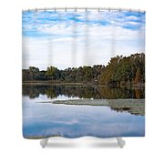 Fall Color On The Pond Shower Curtain