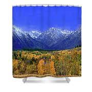 Fall Colored Aspens Grand Tetons Np Shower Curtain