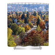 Fall Colors In Spokane From The Post Street Hill Shower Curtain