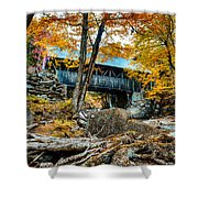 Fall Colors Over The Flume Gorge Covered Bridge Shower Curtain