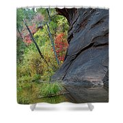 Fall Colors Peek Around Mountain Vertical Shower Curtain