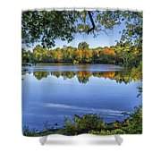 Fall Foliage At Turners Pond In Milton Massachusetts Shower Curtain