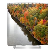 Fall Foliage In Hudson River 10 Shower Curtain